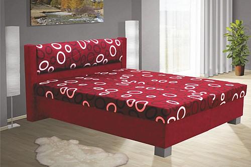Čalouněná postel NIKOL 120cm vč. roštu, matrace a ÚP červená/vzor