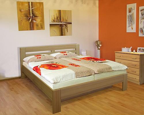 Masivní manželská postel EMILY 180 x 200 cm vč. roštu a ÚP buk