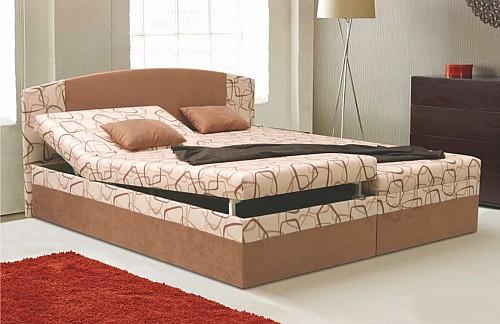 Manželská postel KAMILA EXCLUSIV 180x200 cm vč. roštu, matrace a ÚP Ruth/sv.hnědá