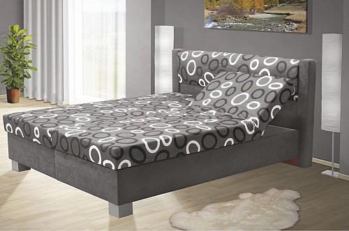 Čalouněná postel ALICIE 170 cm vč. roštu, matrace a ÚP šedá/vzor
