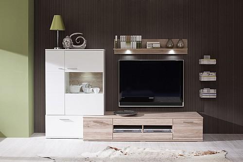 Moderní obývací stěna THREE K39  San remo / bílá