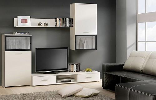 Obývací stěna BONO 4 bílá / černá