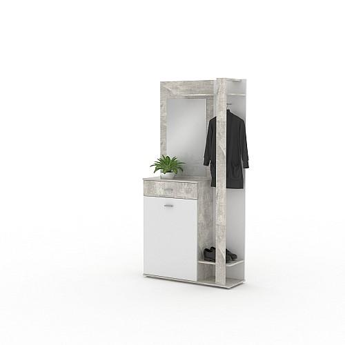 Předsíňová stěna XR 03 beton/bílá