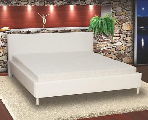 Elegantní manželská postel PUPP 180x200 cm vč. roštu Ekokůže bílá