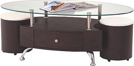 Konferenční stolek STELLA MDF wenge / sklo / chrom