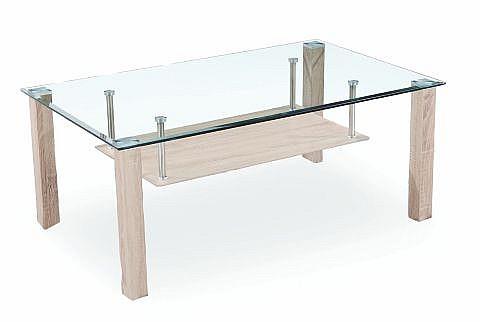 Konferenční stolek NADIA dub Sonoma / sklo / chrom
