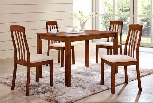 Jídelní stůl NILO + židle NILO 1+4 Ořech