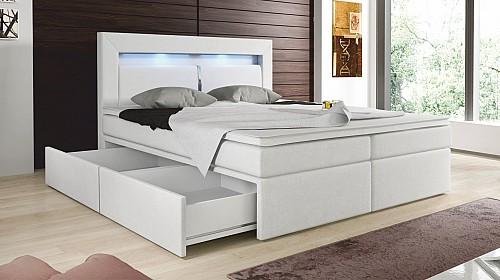 Zvýšená manželská postel CHARLOTTE I 140 cm vč. roštu, matrace a ÚP ekokůže bílá