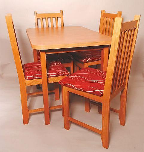 Jídelní set BISTRALKA 1+4 olše/červená