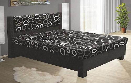 Čalouněná postel NIKOL 120 cm vč. roštu, matrace a ÚP černá/vzor