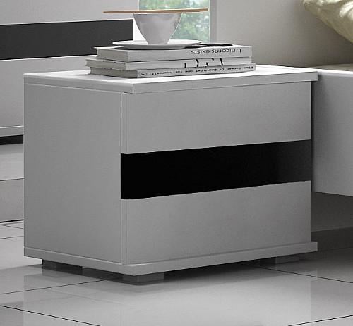Moderní noční stolek do ložnice LUCCA bílá / černý lesk