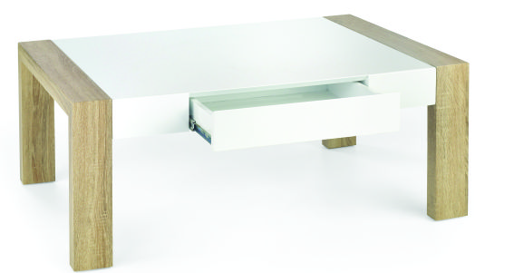 Kasvo TACOMA konf.stůl MDF bílá vysoký lesk / MDF dub Sonoma