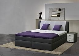 Zvýšená manželská postel BIBIANA 2 140x200 cm vč. roštu a ÚP eko černá/šedá