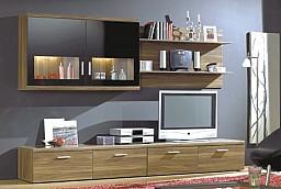 Obývací stěna LAUSANNE  ořech/černé sklo