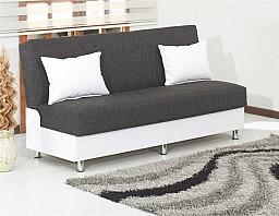 Elegantní rozkládací pohovka LAURA s úložným prostorem eko bílá/šedá