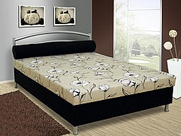 Čalouněná menší postel ANDY 140x200 cm vč. roštu, matrace a ÚP černá milro/šedý květ