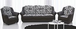Rovná rozkládací sedací souprava ZEUS 3R+1+1 hnědobéž.mozaik