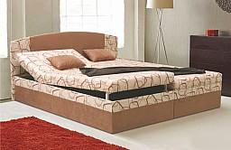 Manželská postel KAMILA EXCLUSIV 180x200 cm vč. roštu, matrace a ÚP Rudy/béžová