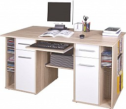 PC stůl DENIS dub Sonoma / bílá