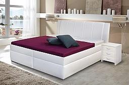 Zvýšená manželská postel BIBIANA 2 180x200 cm vč. roštu a ÚP eko bílá